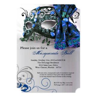 Traje azul Halloween de la bola de la máscara de Invitación 12,7 X 17,8 Cm