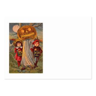 Traje de los niños del fantasma de la calabaza de  plantillas de tarjetas de visita