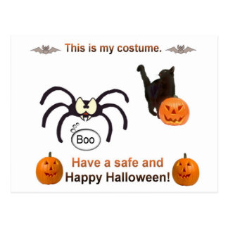 Traje divertido de Halloween Postal