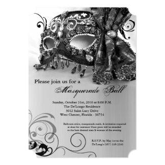 Traje negro Halloween de la bola de la máscara de Invitación 12,7 X 17,8 Cm