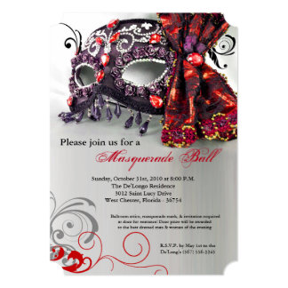 Traje rojo Halloween de la bola de la máscara de Invitación 12,7 X 17,8 Cm