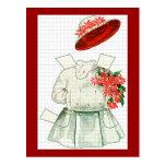 Traje rojo y blanco de la muñeca de papel tarjetas postales