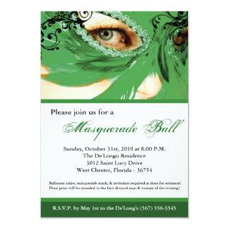 Traje verde Halloween de la bola de la máscara de Invitación 12,7 X 17,8 Cm