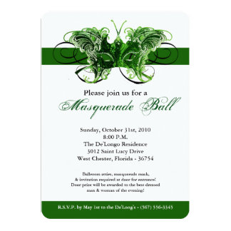 Traje verde Halloween de la máscara de la Invitación 12,7 X 17,8 Cm