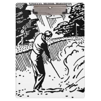 Trampa de arena retra del golfista carpeta de pinza