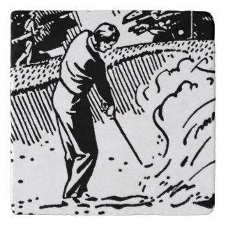 Trampa de arena retra del golfista salvamanteles