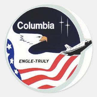 transbordador espacial de Colombia Etiquetas Redondas