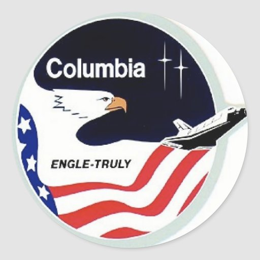 transbordador espacial de Colombia Pegatina Redonda