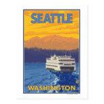Transbordador y montañas - Seattle, Washington Tarjetas Postales