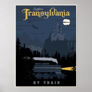 Transilvania por el poster del viaje del tren póster