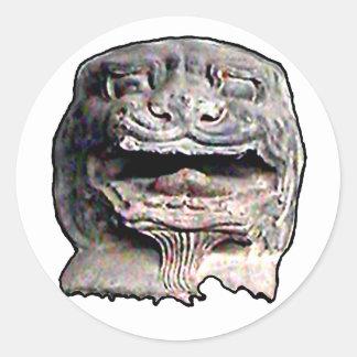 Transp asiático o 2 de la cabeza del león los pegatinas redondas
