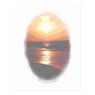 Transparencia de la puesta del sol postal