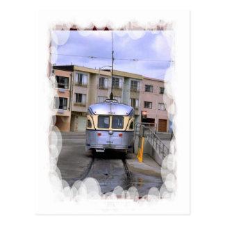 Transporte del vintage - tranvía de la ciudad postal