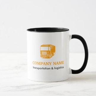 Transporte y taza del logotipo de la logística