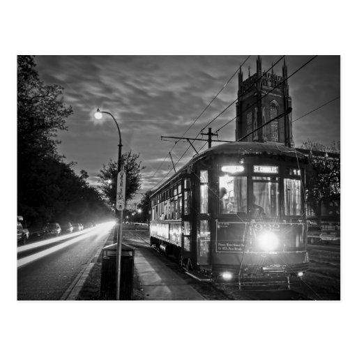 Tranvía de NOLA en la noche Tarjetas Postales