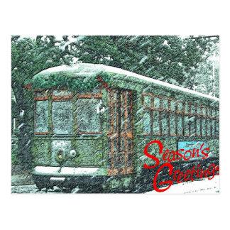 Tranvía en nieve postal