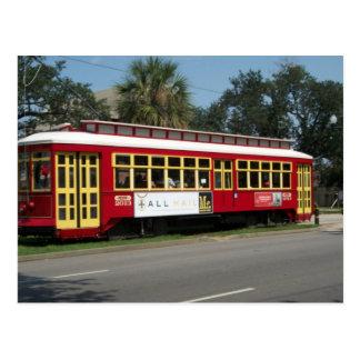 Tranvía rojo postal