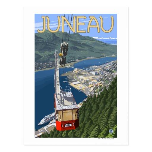 Tranvía sobre poster del viaje del vintage de tarjeta postal