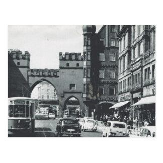 Tranvías del vintage Alemania, de Munich, de la Postal