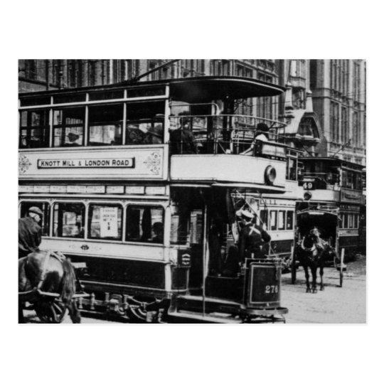 Tranvías en Manchester, c.1900 Postal
