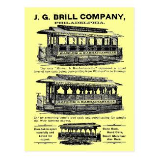 Tranvías y carretillas de Brill Company Postal