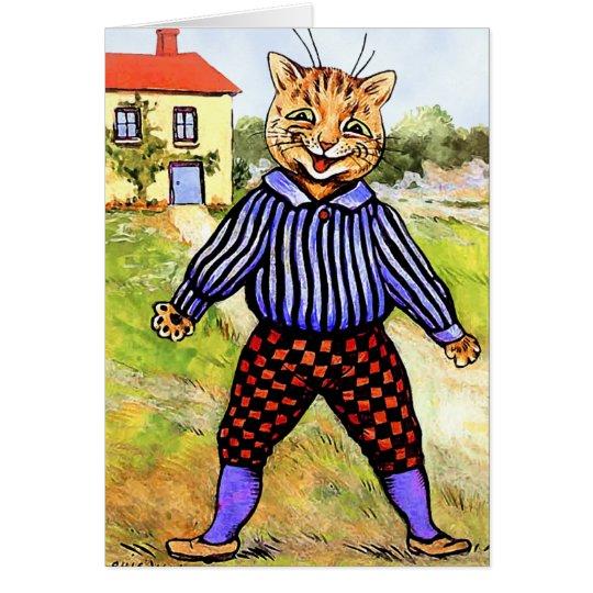 Traseros que llevan del gato de Louis Wain Tarjeta De Felicitación