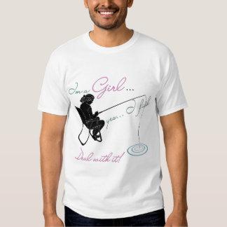 Trato de la pesca del chica con él artes de pesca camisetas