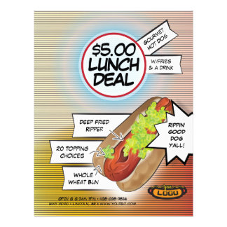 Trato del almuerzo del perrito caliente folleto 21,6 x 28 cm