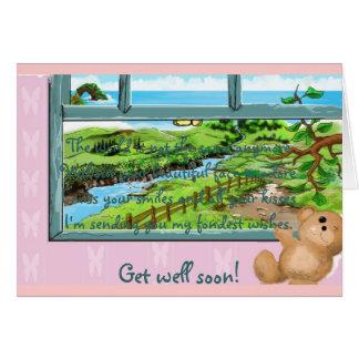 Travesaño de la ventana del oso de peluche tarjeta de felicitación