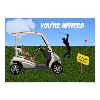 Travesía del carro de golf en espacio abierto invitación 12,7 x 17,8 cm