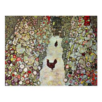 Trayectoria con los pollos, Klimt, arte Nouveau Tarjeta Postal