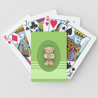 Trébol afortunado de cuatro hojas cartas de juego