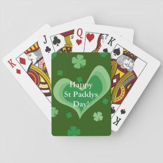 Trébol afortunado de encargo del trébol del día barajas de cartas