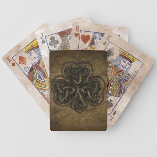 trébol céltico marrón del nudo baraja de cartas