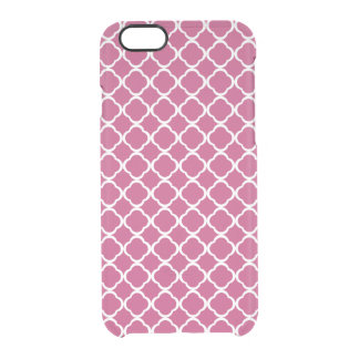 Trébol color de rosa y blanco fucsia Quatrefoil Funda Transparente Para iPhone 6/6S