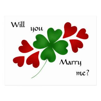 Trébol con propuesta de matrimonio de los postal