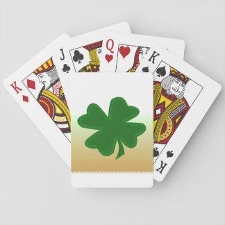 Trébol de cuatro hojas cartas de póquer
