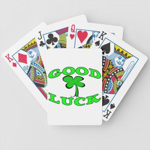 Trébol de la hoja de la buena suerte cuatro barajas de cartas