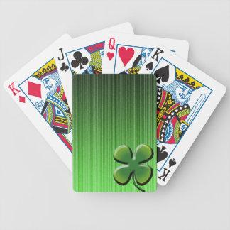 Trébol de la hoja del verde cuatro baraja de cartas