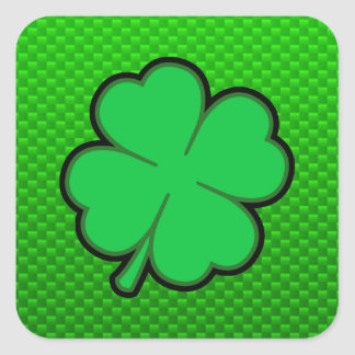 Trébol de la hoja del verde cuatro calcomanías cuadradases