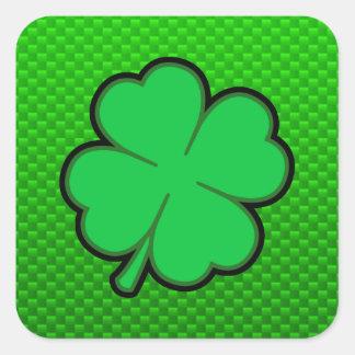 Trébol de la hoja del verde cuatro pegatina cuadrada