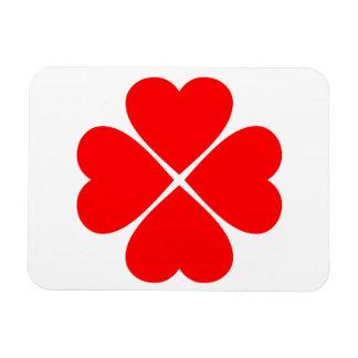 Trébol de la suerte y del amor con corazones rojos iman flexible