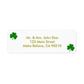 Trébol del irlandés del día de St Patrick verde Etiqueta De Remite