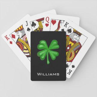 Trébol del trébol de la hoja del verde cuatro baraja de cartas