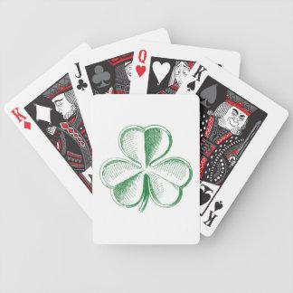 Trébol del vintage barajas de cartas
