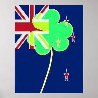 Trébol divertido del irlandés de Nueva Zelanda de Póster