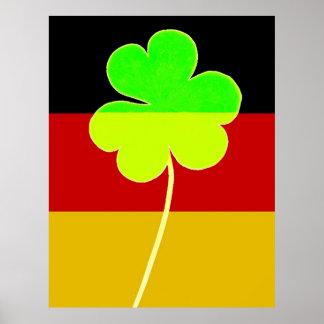 Trébol irlandés alemán de la bandera divertida de póster