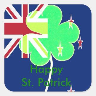 Trébol St Patrick del trébol de la bandera de Pegatina Cuadrada