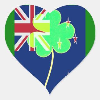 Trébol St Patrick del trébol de la bandera de Pegatina En Forma De Corazón