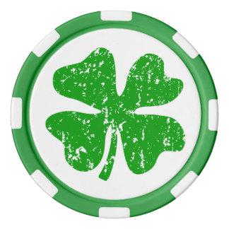 Trébol verde de las fichas de póker el | del